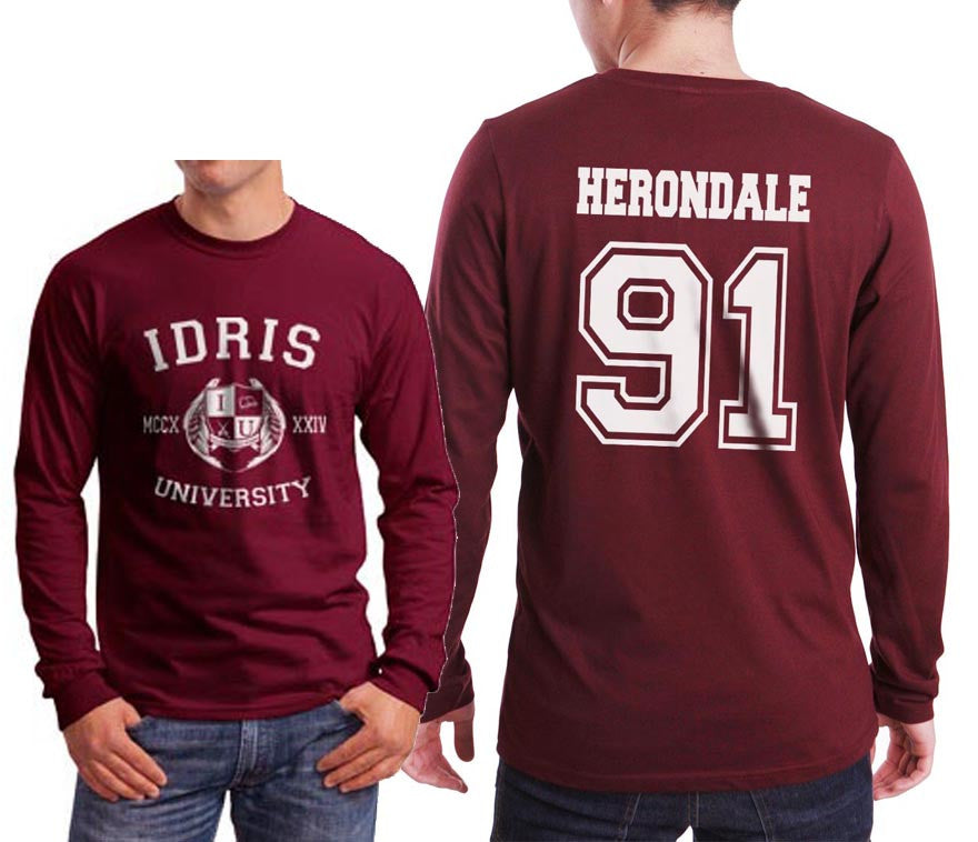 Herondale 91 Idris University Long Sleeve T-shirt for Men Maroon - Meh. Geek - 1