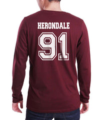 Herondale 91 Idris University Long Sleeve T-shirt for Men Maroon - Meh. Geek - 3