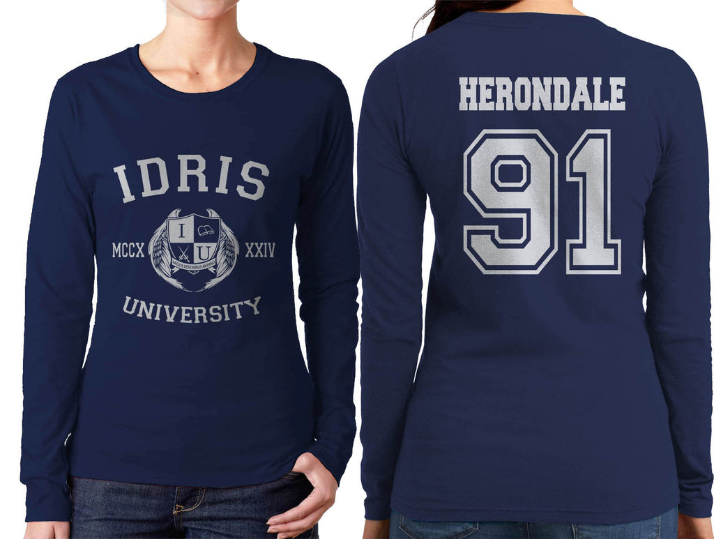 Herondale 91 Idris University Long sleeve T-shirt for Women Navy - Meh. Geek - 1