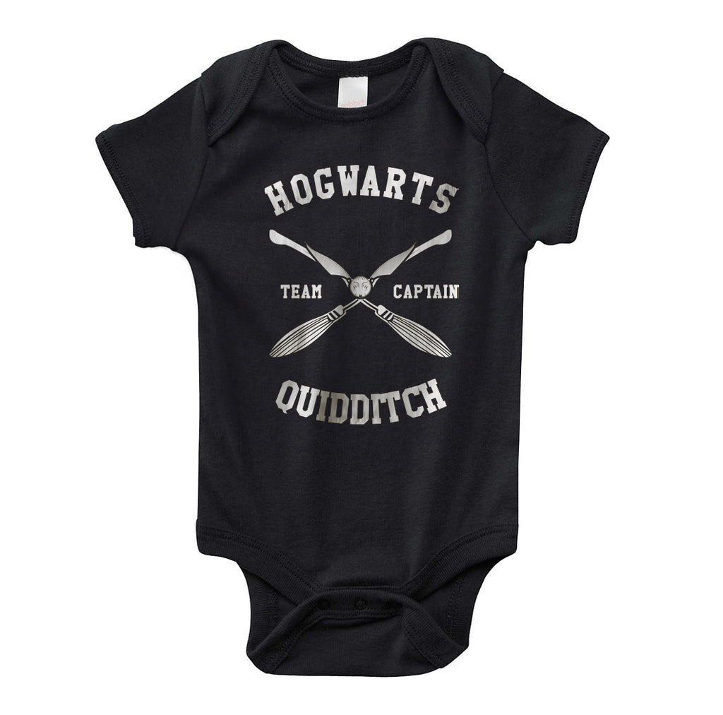 Hogwarts Quidditch team Captain New White ink Infant Baby Rib Lap Shoulder Creeper Onesies PA