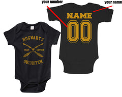 Customize - Hogwarts Quidditch team Captain New Yellow ink Infant Baby Rib Lap Shoulder Creeper Onesies