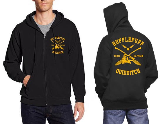 Hufflepuff CAPTAIN Quidditch Team Front and back Unisex Zip Up Hoodie PA New