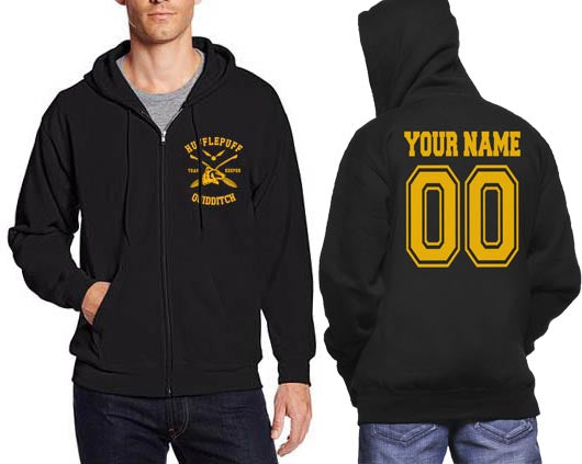 Customize - New Hufflepuff KEEPER Quidditch Team pocket Unisex Zip Up Hoodie