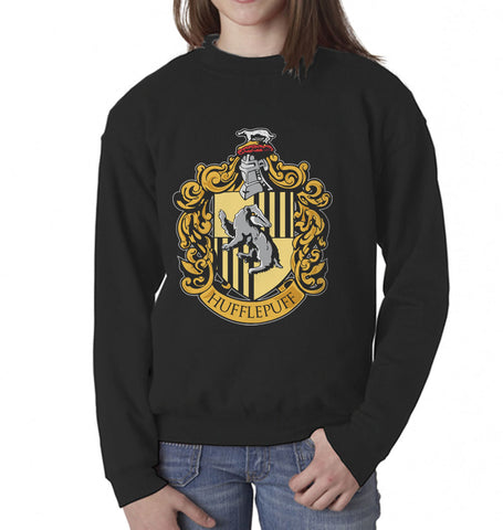 Hufflepuff #1 Crest Kid / Youth Crewneck Sweatshirt PA Crest