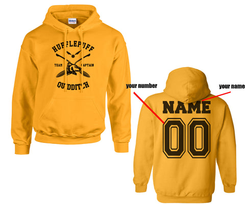 Customize - New Hufflepuff CAPTAIN Quidditch Team Unisex Pullover Hoodie Gold