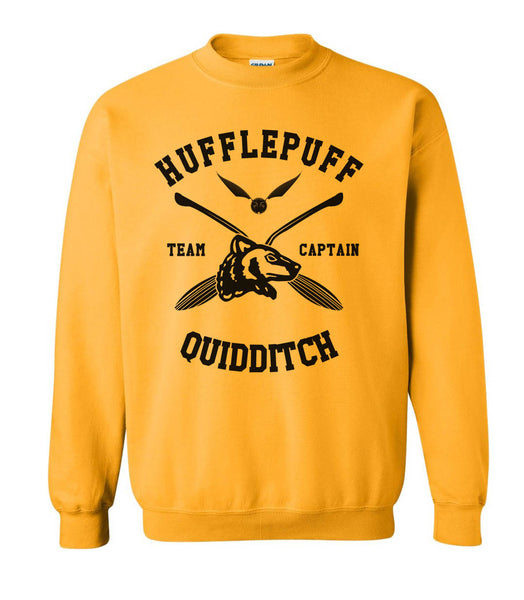 Hufflepuff CAPTAIN Quidditch Team Unisex Crewneck Sweatshirt Gold PA New Adult