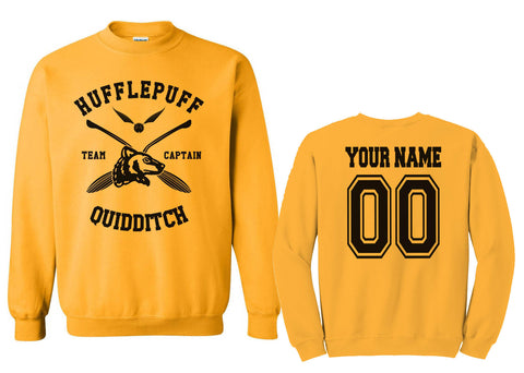 Customize - New Hufflepuff CAPTAIN Quidditch Team Unisex Crewneck Gold Sweatshirt (Adult)