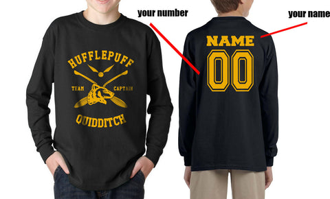Customize - New Hufflepuff CAPTAIN Quidditch Team Kid / Youth Long Sleeves T-shirt tee
