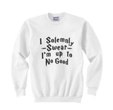 "Quote by J.K. Rowling ""I solemnly swear that I am up to no good"" with Harry potter Font Unisex Crewneck Sweatshirt - Meh. Geek - 5"