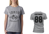 Idris University Custom Back Name and Number Women T-shirt Sport Grey