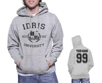 Idris University Custom Back Name and Number Unisex Pullover Hoodie Light Steel / HEATHER GREY