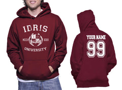 Idris University Custom Back Name and Number Unisex Pullover Hoodie MAROON