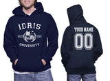 Idris University Custom Back Name and Number Unisex Pullover Hoodie NAVY
