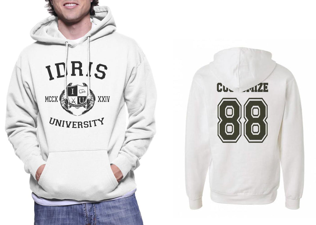 Idris University Custom Back Name and Number Unisex Pullover Hoodie WHITE
