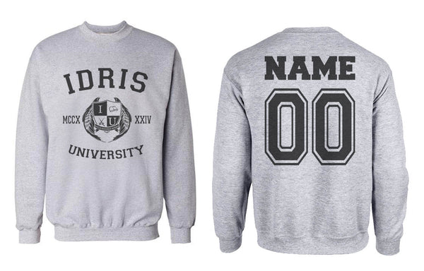 Idris University Custom Back Name and Number Crewneck Sweatshirt LIGHT STEEL/HEATHER Adult