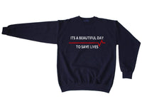 It's a beautiful day to save life Grey's Anatomy Unisex Crewneck Sweatshirt - Meh. Geek - 4
