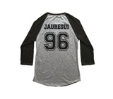 Jauregui 96 on back, Fifth harmony pocket logo Unisex 3/4 Raglan Tee Sport Grey-Black