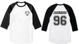 Jauregui 96 on back, Fifth harmony pocket logo Unisex 3/4 Raglan Tee White-Black
