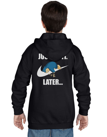 Just Do It Later Snorlax Back Kid / Youth Hoodie