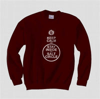 Keep Calm and Stay Inside the Salt Circle Supernatural Winchester Unisex Crewneck Sweatshirt - Meh. Geek - 3