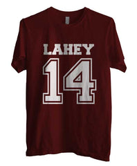Lahey 14 on front Beacon Hills Lacrosse Wolf Men T-shirt