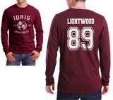 Lightwood 89 Idris University Long Sleeve T-shirt for Men Maroon - Meh. Geek - 1