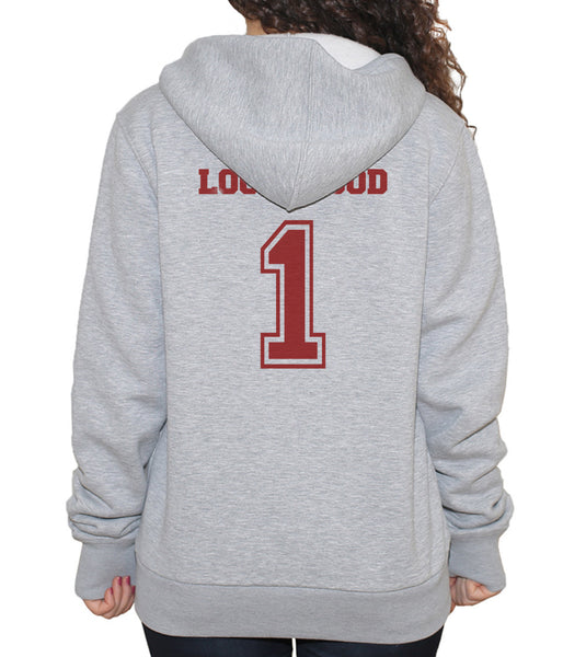 Lockwood 1 Maroon Ink on BACK Mystic Falls The Vampire Unisex Pullover Hoodie - Meh. Geek