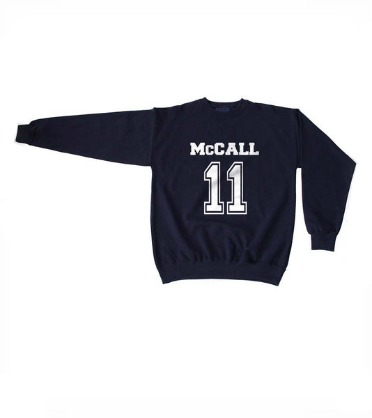 Mccall 11 on Front White Ink Beacon Hills Lacrosse Wolf Crewneck Sweatshirt Adult
