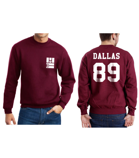 Dallas 89 on BACK Magcon Boys Logo Pocket on FRONT Crewneck Sweatshirt - Meh. Geek