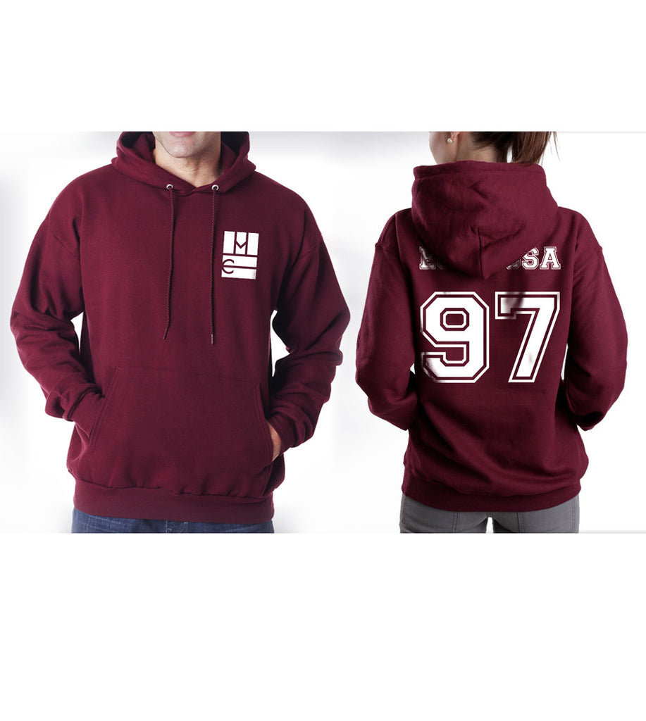 Espinosa 97 on BACK Magcon Boys Logo Pocket on FRONT Unisex Pullover Hoodie - Meh. Geek