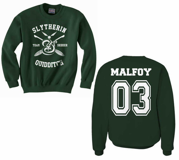 Malfoy 03 Slytherin SEEKER Quidditch Team Unisex Crewneck Sweatshirt (Adult) PA New