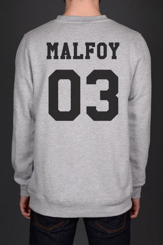 Malfoy 03 Black Ink on Back Harry Potter Unisex Crewneck Sweatshirt - Meh. Geek