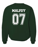 Malfoy 07 Slytherin BEATER Quidditch Team Unisex Crewneck Sweatshirt (Adult) PA New