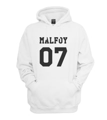 Malfoy 07 Black Ink on FRONT Harry Potter Unisex Pullover Hoodie - Meh. Geek