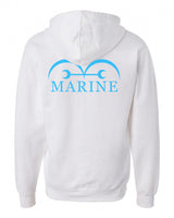 Marine Blue Ink on BACK Unisex Pullover Hoodie - Meh. Geek
