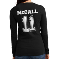McCall 11 on Back Beacon Hills Lacrosse Wolf Logo Teen Wolf Long sleeve T-shirt for Women - Meh. Geek