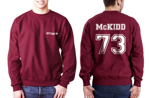Mckidd 73 White Ink on Back Greys Anatomy Logo Pocket on Front Unisex Crewneck Sweatshirt - Meh. Geek