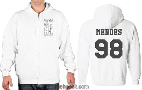 Shawn Mendes is my boyfriend Front Mendes 98 back Unisex Zip Up Hoodie White