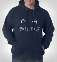 Meow Cat on Front Unisex Pullover Hoodie