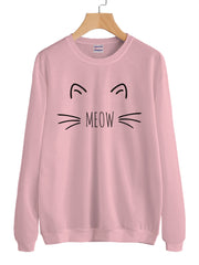 Meow Cat Lover Unisex Crewneck Sweatshirt Adult