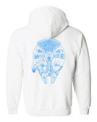Millennium Falcon Blue on back only, Blank front Unisex Zip Up Hoodie
