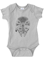 Millennium Falcon Infant Baby Rib Lap Shoulder Creeper Onesie Bodysuit