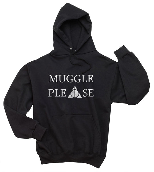 Muggle Please on Front Deathly Hallows Harry Potter Unisex Pullover Hoodie