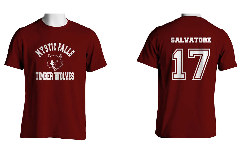 Salvatore 17 on Back Mystic Falls on Front T-shirt Men