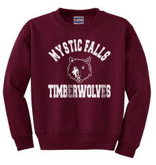 Mystic Falls Timberwolves The Vampire Diaries on Front White ink Unisex Crewneck Sweatshirt