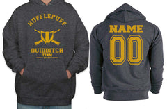 Customize - OLD Hufflepuff PLAIN (No Position) Quidditch Team Unisex Pullover Hoodie Dark Heather