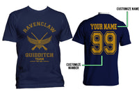 Customize - OLD Ravenclaw PLAIN (No Position) Quidditch Team Yellow ink Men T-shirt tee Navy