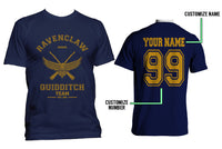 Customize - OLD Ravenclaw SEEKER Quidditch Team Yellow ink Men T-shirt tee Navy