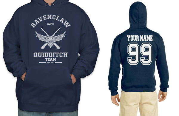 Customize - OLD Ravenclaw BEATER Quidditch Team White Unisex Adult Pullover Hoodie Navy