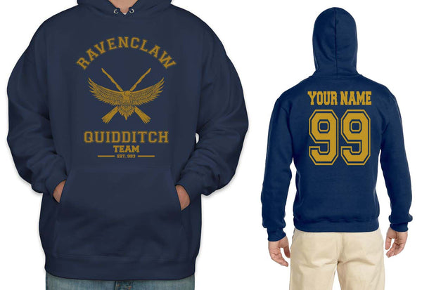 Customize - OLD Ravenclaw PLAIN (No Position) Quidditch Team Yellow Unisex Adult Pullover Hoodie Navy